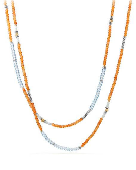 "David Yurman Tweejoux® Long Bead Necklace in Orange/Blue Stone Mix, 36"""