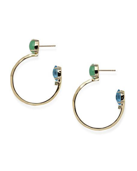 18k Prisma Three-Stone Hoop Earrings in Portofino
