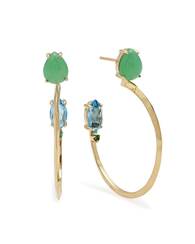 18k Prisma Three Stone Hoop Earrings In Portofino