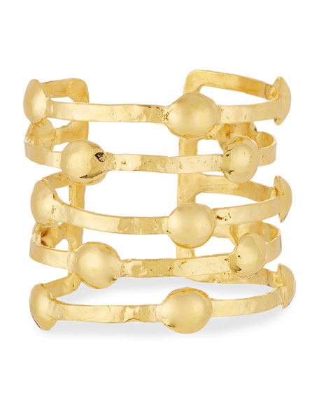 Devon Leigh Dodgit Hammered Gold-Plate Open Bar Cuff