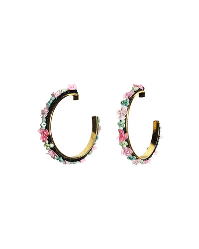 Skinny Julia Embroidered Hoop Earrings