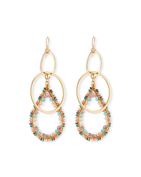Devon Leigh Double-Link Teardrop Earrings w/ Beads, Pastel