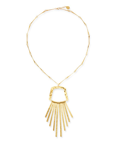 Long Golden Fringe Pendant Necklace