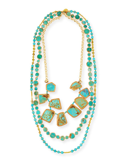DEVON LEIGH COPPER INFUSED TURQUOISE MULTI-STRAND NECKLACE