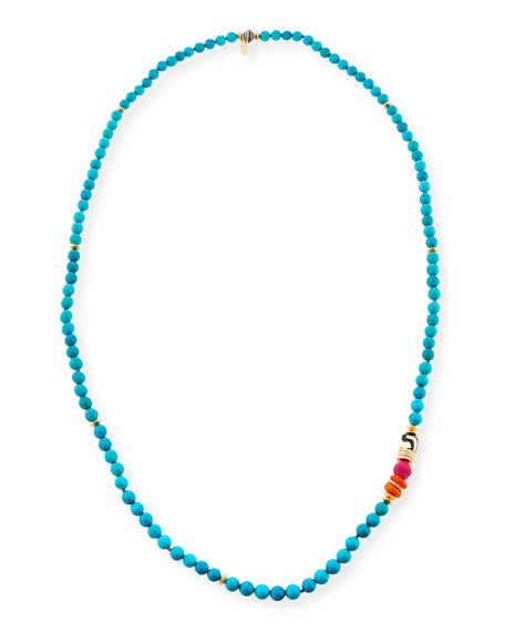 Long Turquoise Beaded One-Strand Necklace, 36""