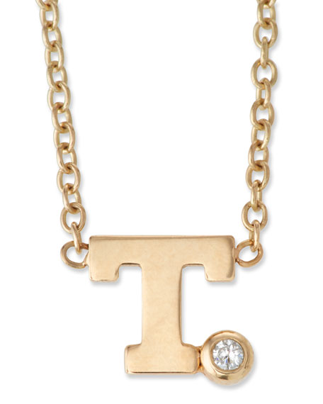 Pave Initial Pendant Necklace with 0.01 Diamond