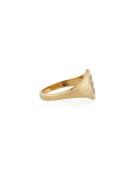 Personalized 14k Gold Pave Initial Signet Ring