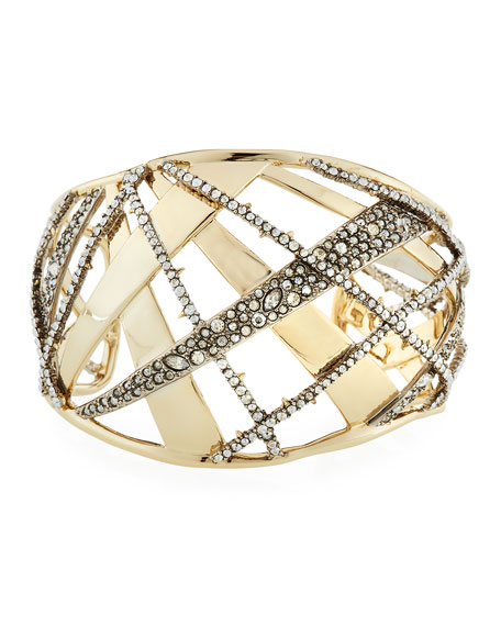 Crystal Encrusted Plaid Cuff Bracelet