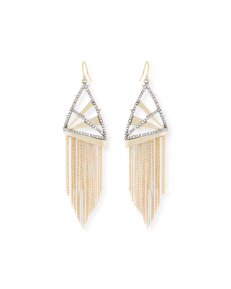 Chain Fringe Wire Drop Earrings
