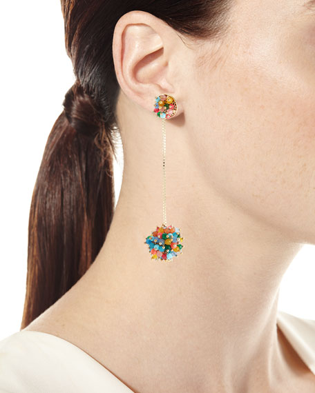 Multicolor Pompom Drop Earrings