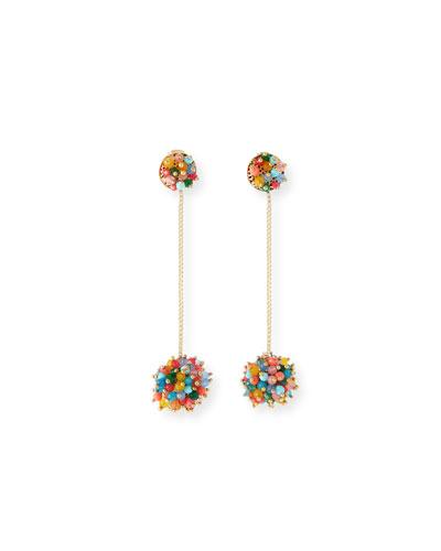 Multicolor Pompom Drop Earrings