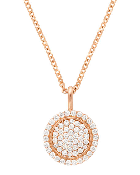 18k Scallop Pave Pendant Necklace