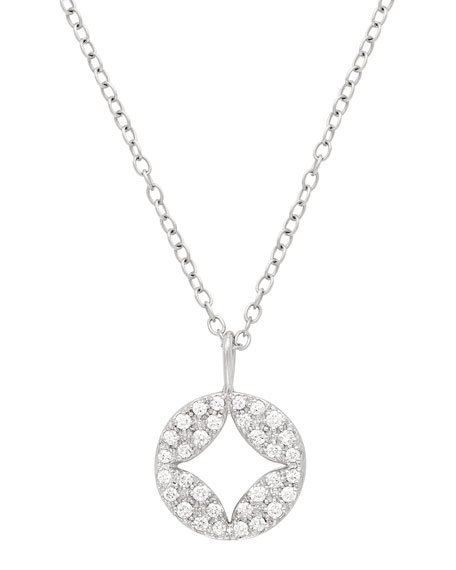 JAMIE WOLF 18K Open Aladdin Diamond Disc Pendant Necklace in White/Gold