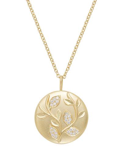 18k Diamond Ivy Vine Pendant Necklace