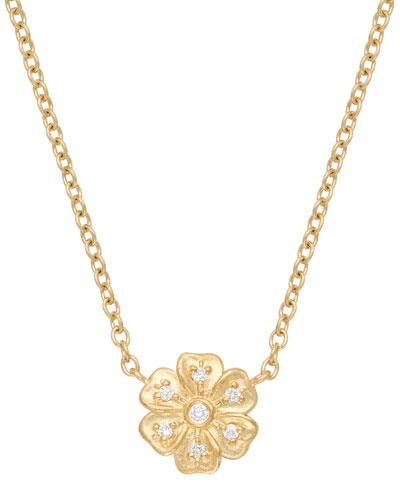 18k Diamond Lilac Pendant Necklace