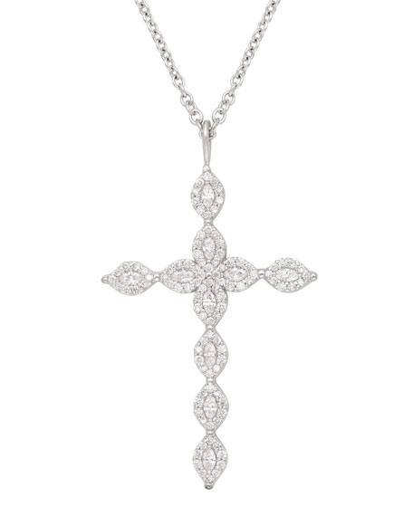 18k Marquise Diamond Cross Necklace