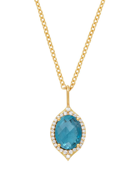 JAMIE WOLF 18K Oval Aladdin PavÉ Necklace W/ Blue Topaz & Diamonds in Gold