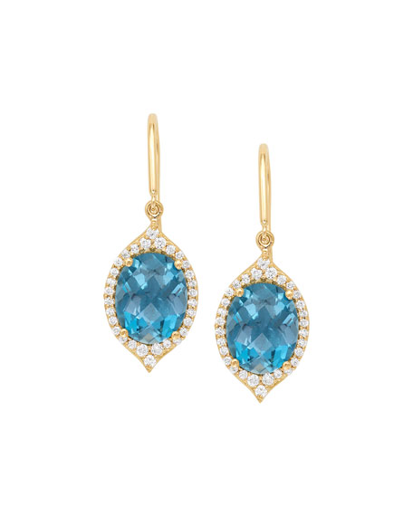 JAMIE WOLF 18K Small Oval Aladdin PavÉ Earrings W/ Blue Topaz & Diamonds in Gold