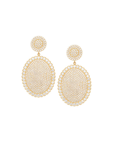 18k Scalloped Diamond Pavé Oval Drop Earrings
