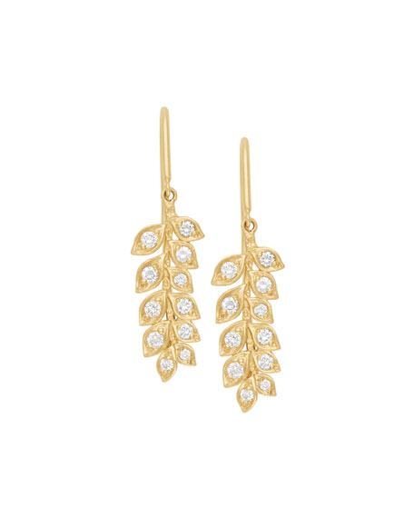 18k Small Diamond Vine Drop Earrings