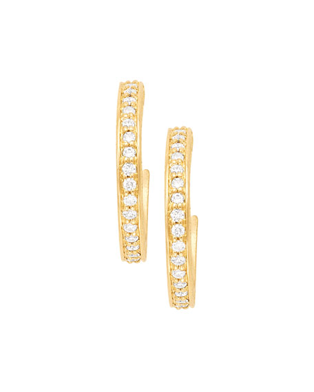 18k Petite Pave Hoop Earrings