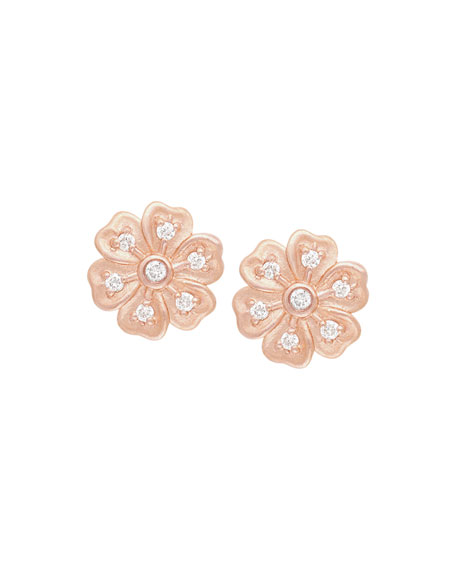 JAMIE WOLF Lilac Diamond Flower Stud Earrings in Rose Gold