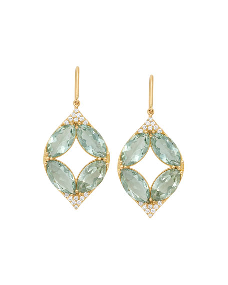 JAMIE WOLF 18K MARQUISE OVAL ALADDIN EARRINGS W/ GREEN AMETHYST & DIAMONDS