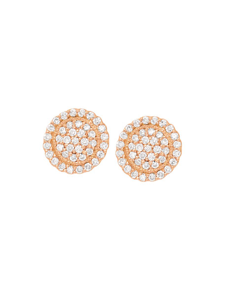 18k Diamond Pavé Round Stud Earrings