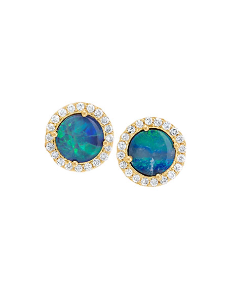 18k Diamond-Edged Boulder Opal Stud Earrings