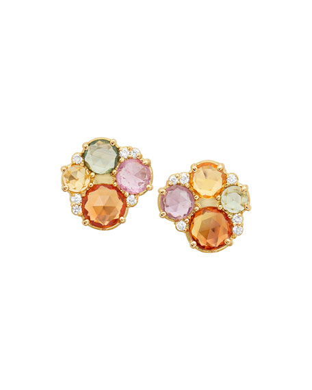 18k Multicolor Sapphire & Diamond Stud Earrings
