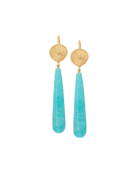 JAMIE WOLF 18K Amazonite Shell Earrings in Gold