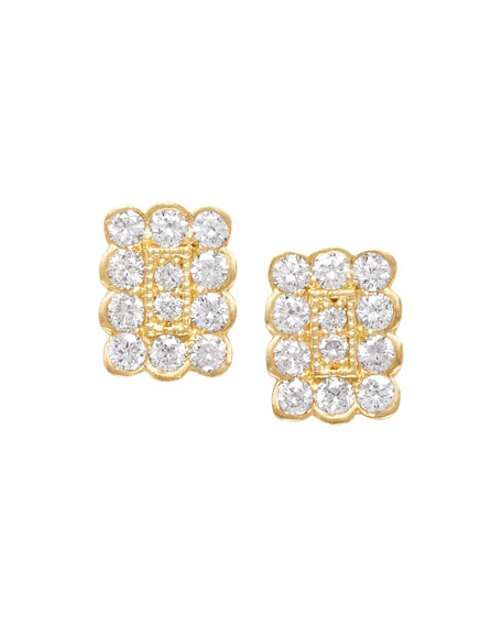 18k Small Rectangle Diamond Stud Earrings
