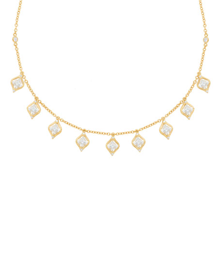 JAMIE WOLF 18K Princess-Cut Drop Necklace W/ Diamond & Aquamarine in Gold