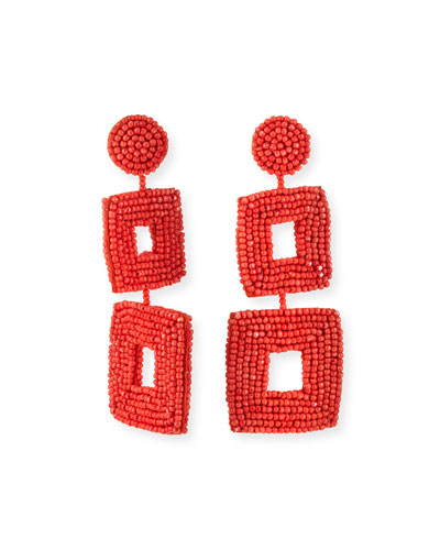 Double Square Seed Bead Drop Earrings, Coral