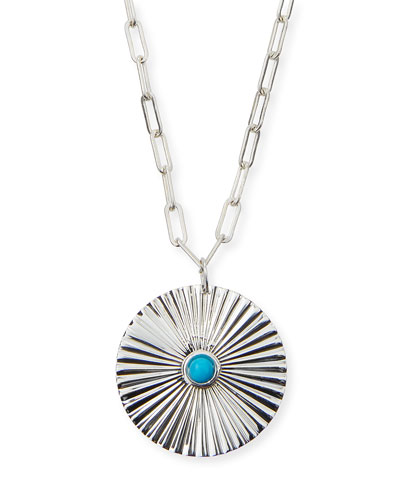 Iris Silver Turquoise Pendant Necklace