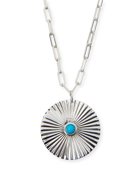 Jennifer Zeuner Iris Silver Turquoise Pendant Necklace