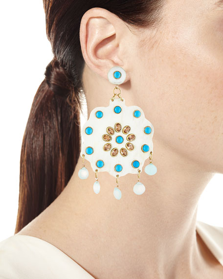 Image 2 of 2: Ashley Pittman Shauku Light Horn Flower Earrings