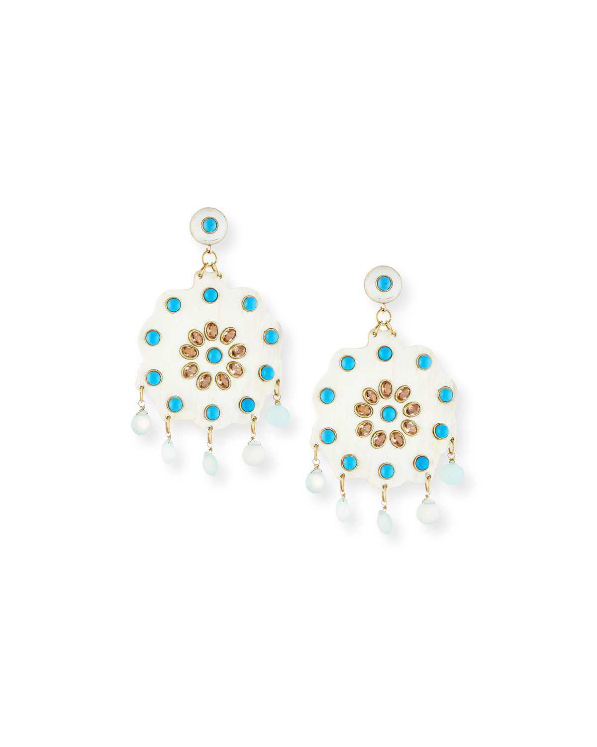 Ashley Pittman Shauku Light Horn Flower Earrings