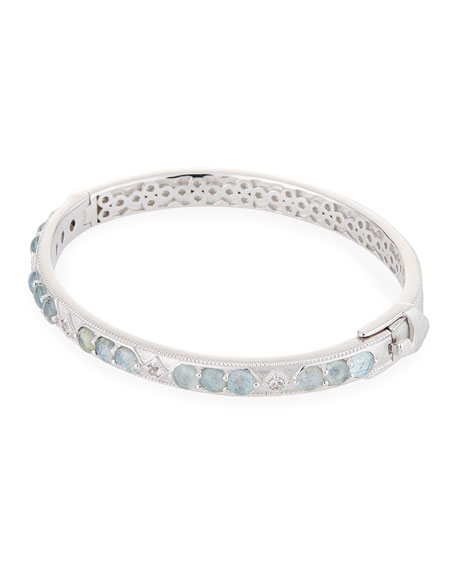 Encore Lisse Sterling Silver Stone Bangle with Labradorite/Quartz Doublet