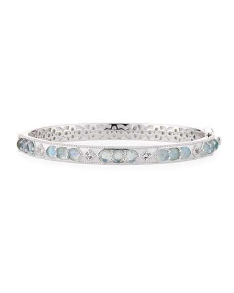 Jude Frances Delicate Lisse Pearl & White Topaz Bangle HLejPU