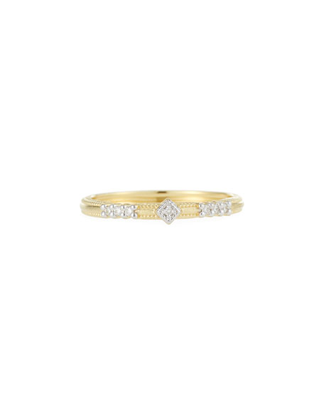 18k Lisse Triple Diamond Pavé Ring