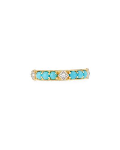 18k Lisse Round Turquoise Stone Ring