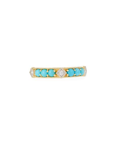 Jude Frances 18k Lisse Round Turquoise Stone Ring
