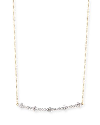 18k Provence Diamond Curved Bar Necklace