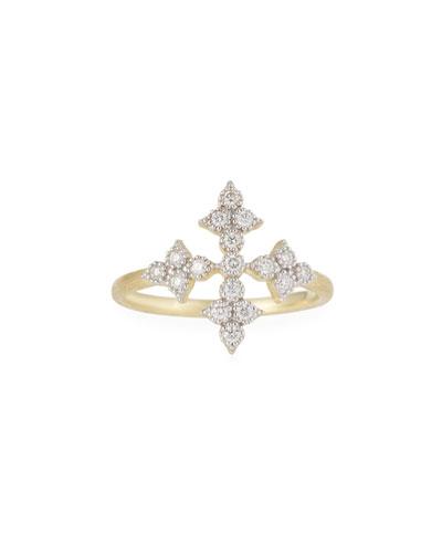 18k Moroccan Diamond Cross Ring
