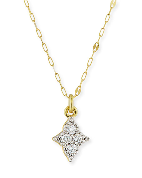 18k Moroccan Diamond Quad Pendant Necklace
