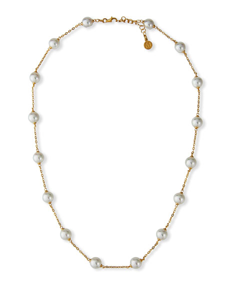 Majorica 8mm White Pearl Chain Necklace