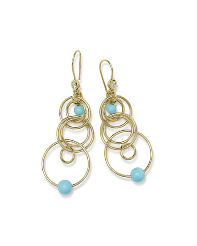 18k Nova Diamond Jet Set Earrings in Turquoise