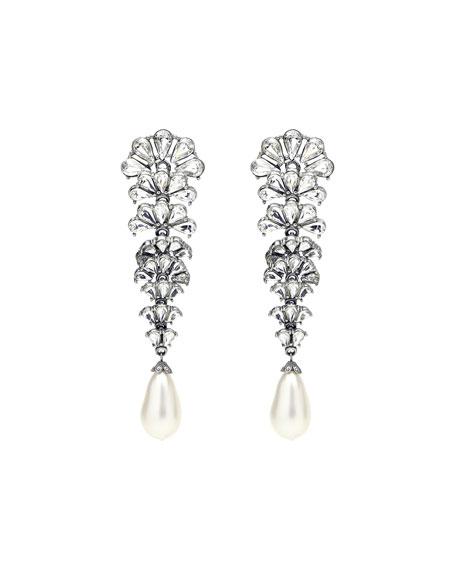 Ben-Amun Crystal Fan Earrings w/ Pearly Teardrop
