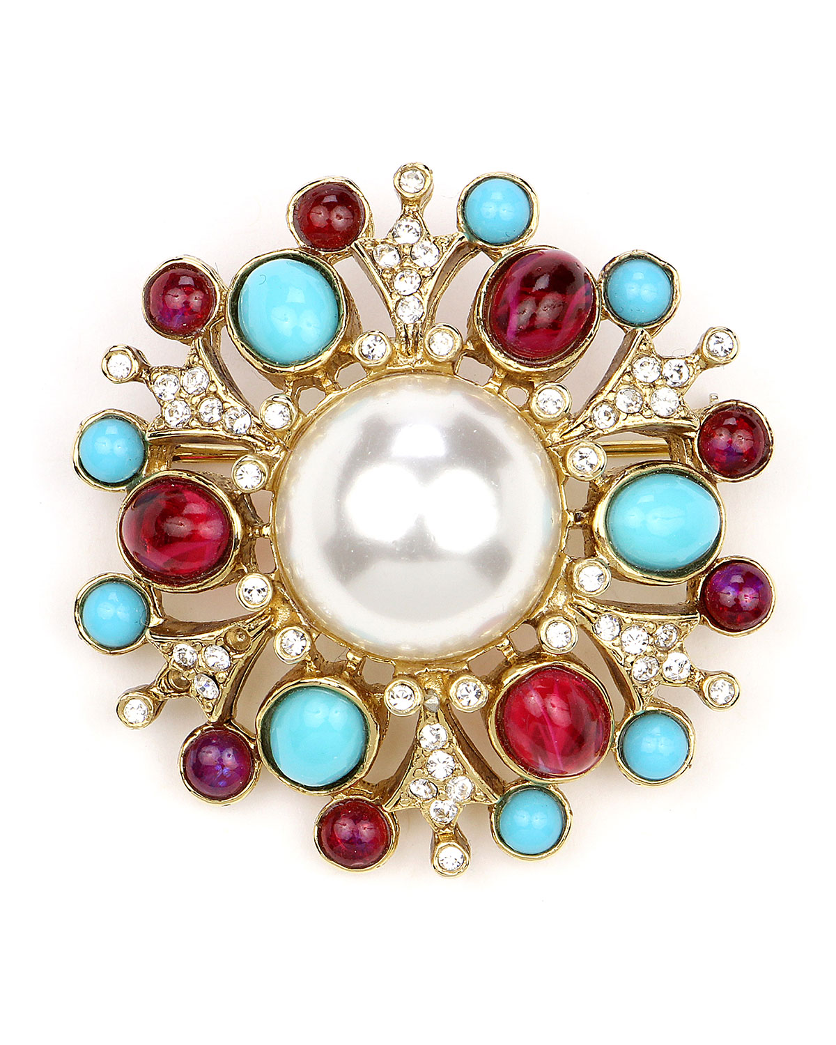 Ben-Amun Cluster Brooch w/ Pearly Center